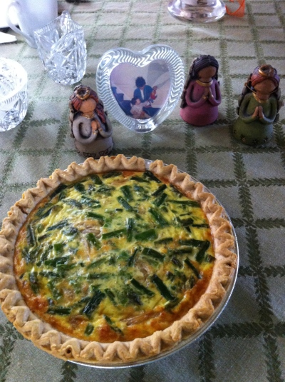 "Mom's quiche on display with a tribute to her three ""angels"" (my sisters and I)"